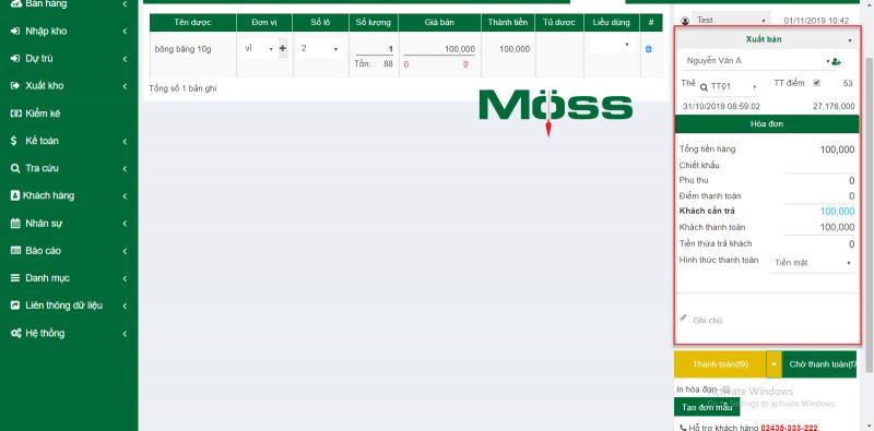 Tính năng tích điểm khách hàng trên phần mềm MossPharma