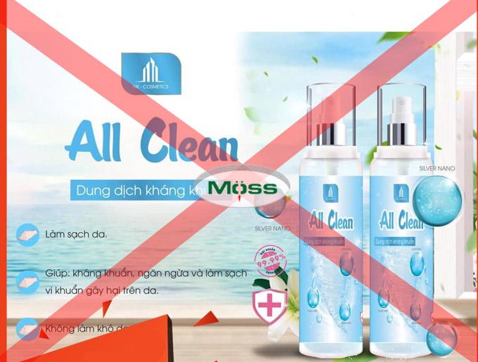 Dung dịch kháng khuẩn All Clean bị thu hồi