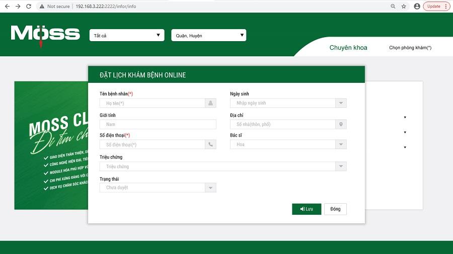Đăng ký khám bệnh online trên web riêng của pk