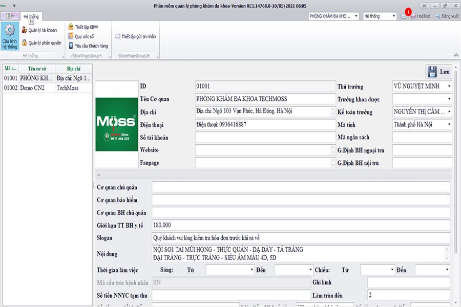 Phần mềm quản lý phòng khám nha khoa Moss Clinic